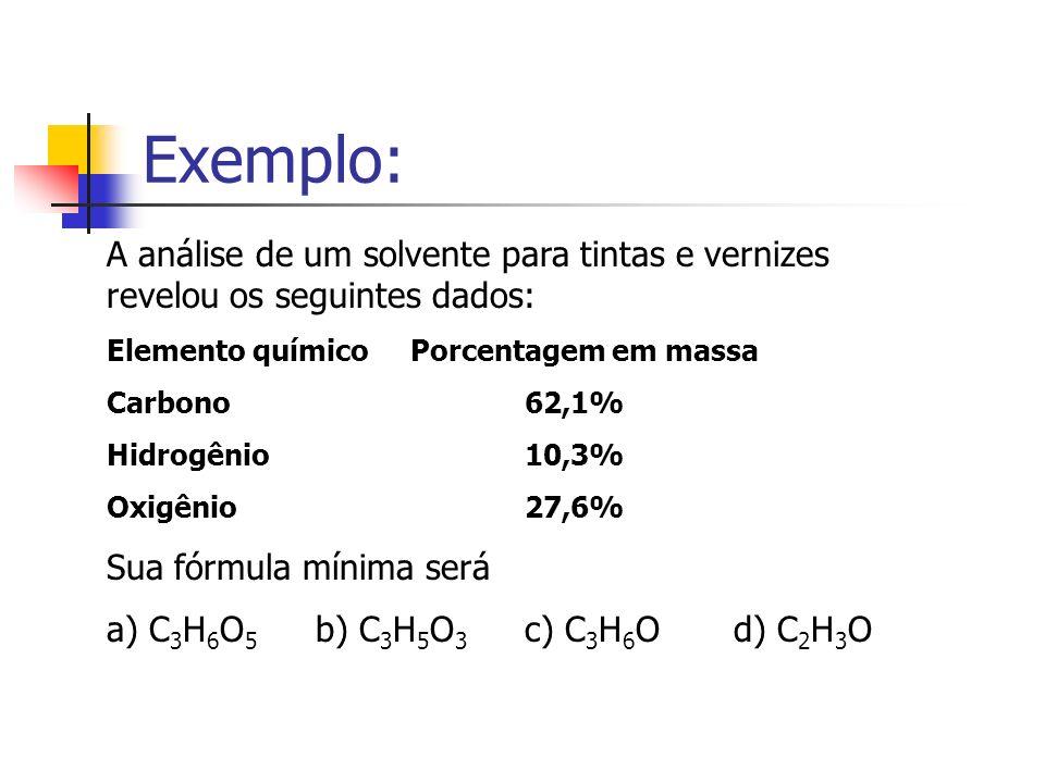 Exemplo: A análise de um solvente para tintas e vernizes revelou os seguintes dados: Elemento químico Porcentagem em massa.