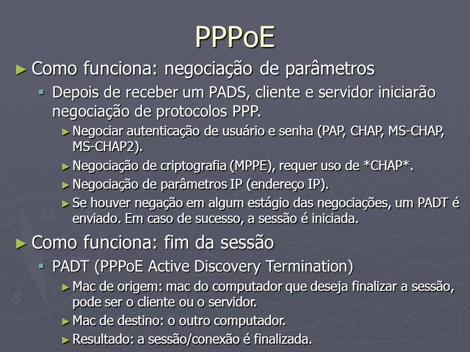 PPPoE Como funciona: negociação de parâmetros