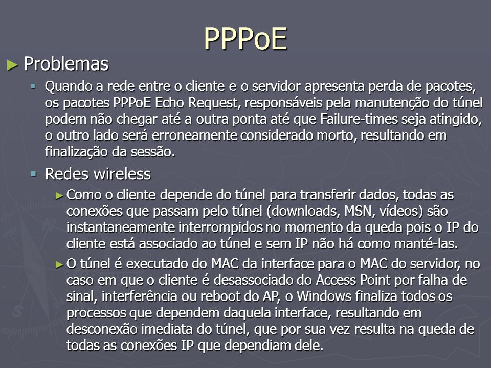 PPPoE Problemas Redes wireless