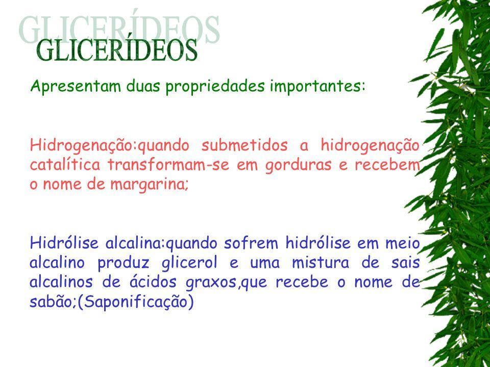 GLICERÍDEOS Apresentam duas propriedades importantes: