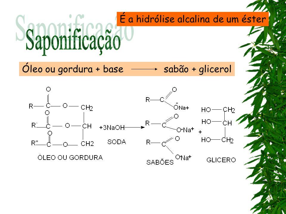 Saponificação É a hidrólise alcalina de um éster