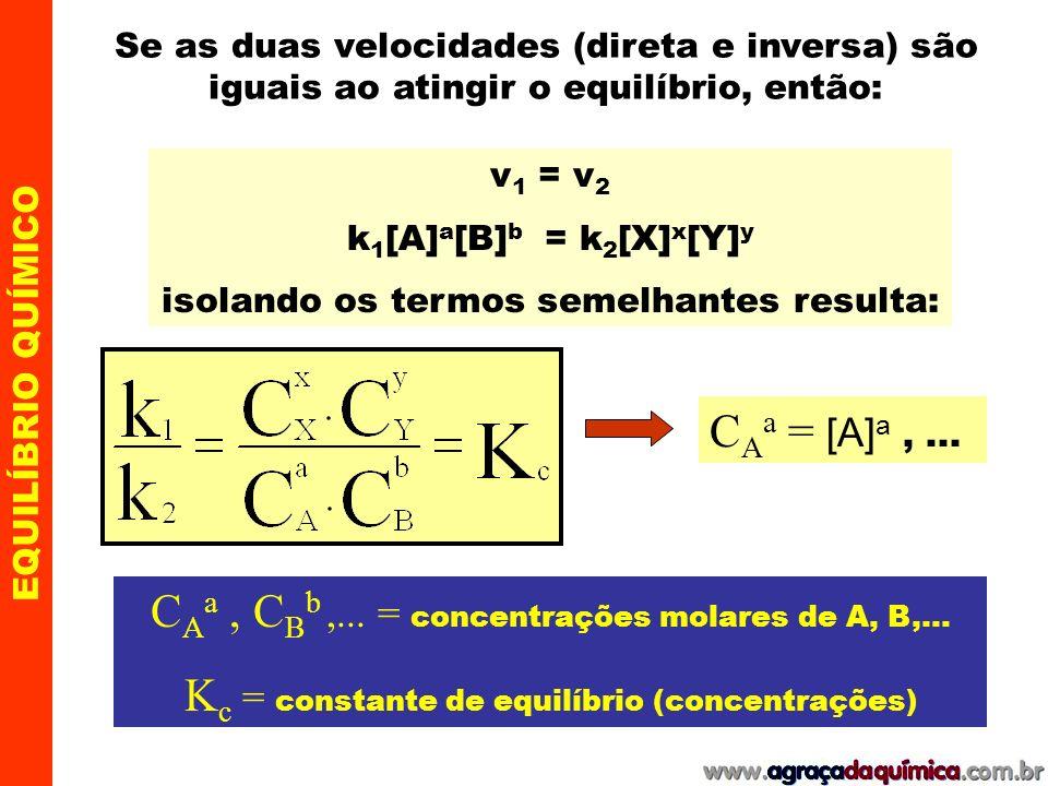 CAa , CBb ,... = concentrações molares de A, B,...