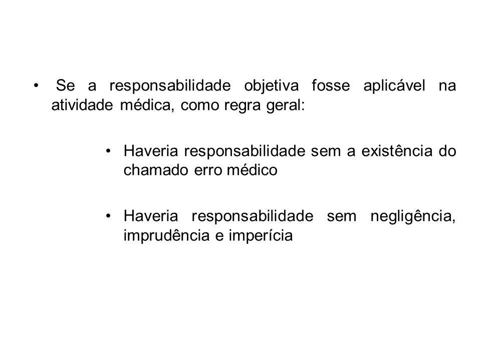 Se a responsabilidade objetiva fosse aplicável na atividade médica, como regra geral: