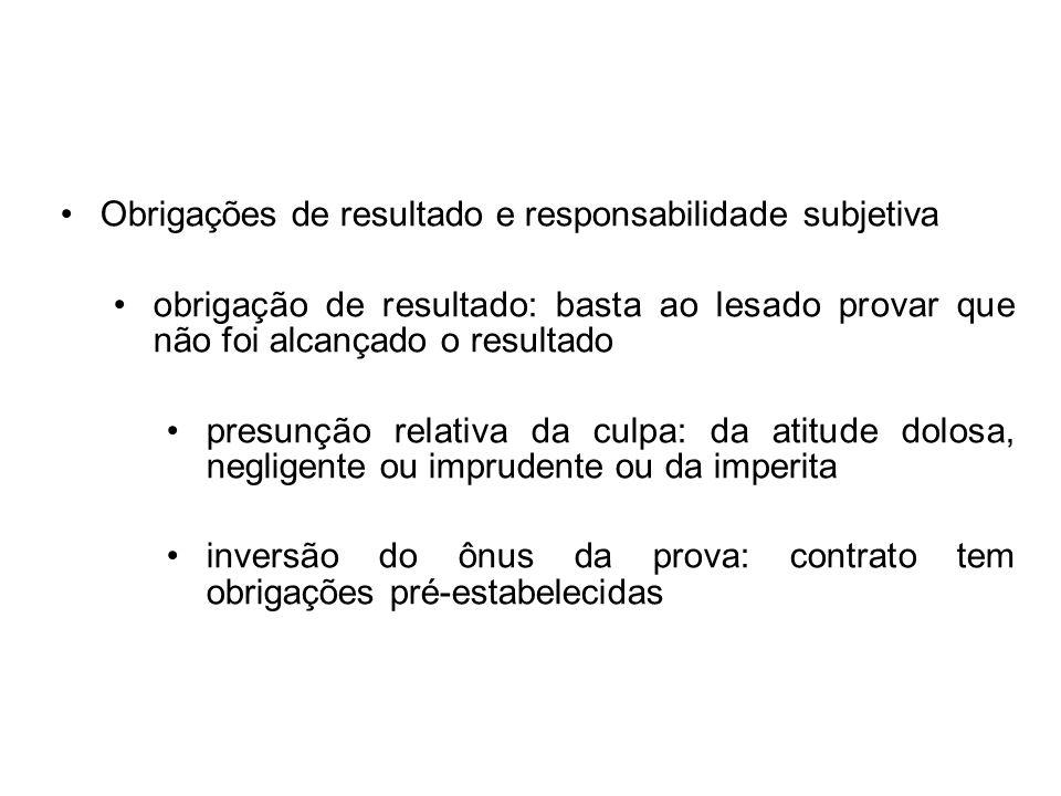 Obrigações de resultado e responsabilidade subjetiva