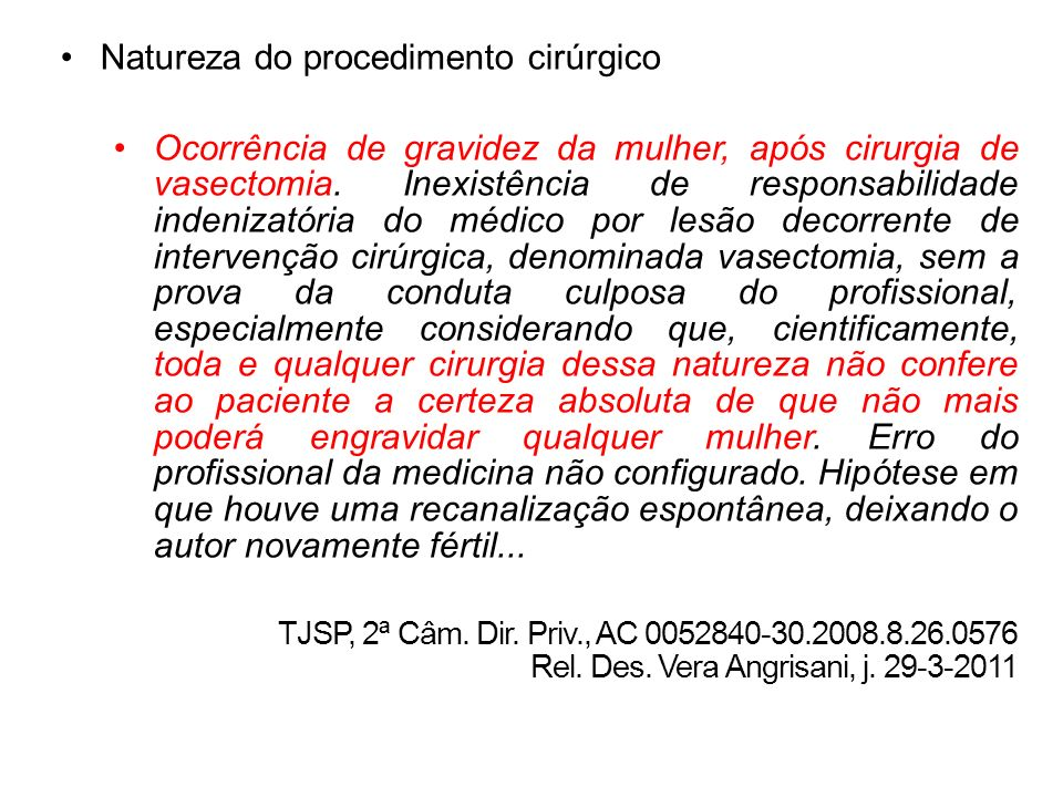 Natureza do procedimento cirúrgico