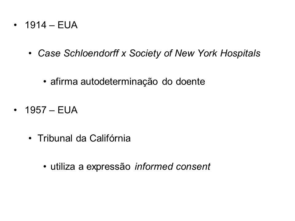 1914 – EUA Case Schloendorff x Society of New York Hospitals. afirma autodeterminação do doente. 1957 – EUA.