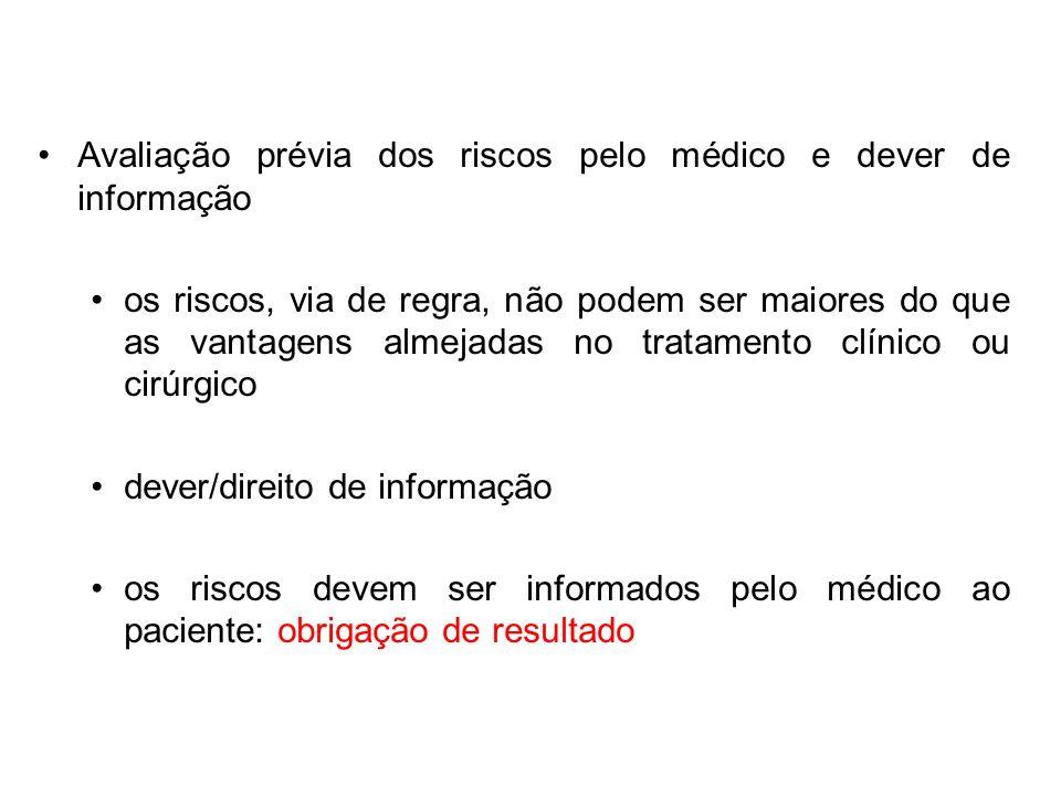Avaliação prévia dos riscos pelo médico e dever de informação