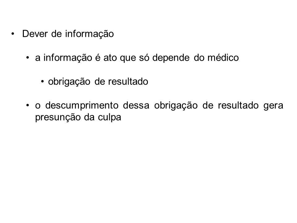 Dever de informação a informação é ato que só depende do médico. obrigação de resultado.