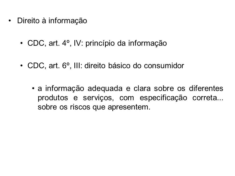Direito à informação CDC, art. 4º, IV: princípio da informação. CDC, art. 6º, III: direito básico do consumidor.