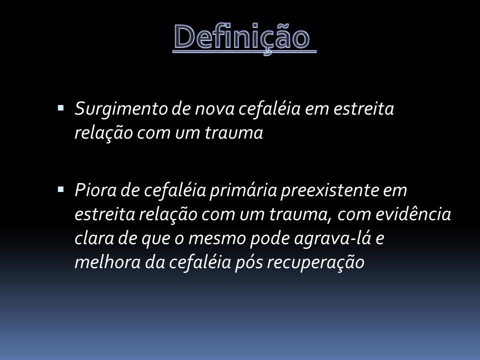 Definição Surgimento de nova cefaléia em estreita relação com um trauma.