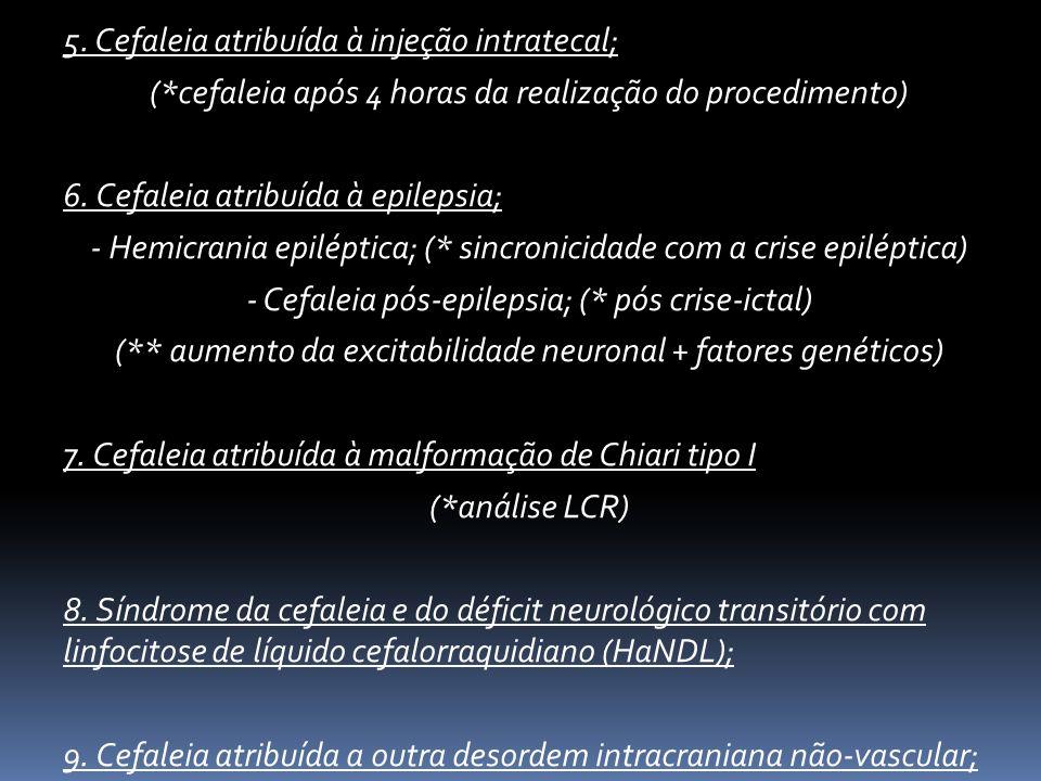 5. Cefaleia atribuída à injeção intratecal;