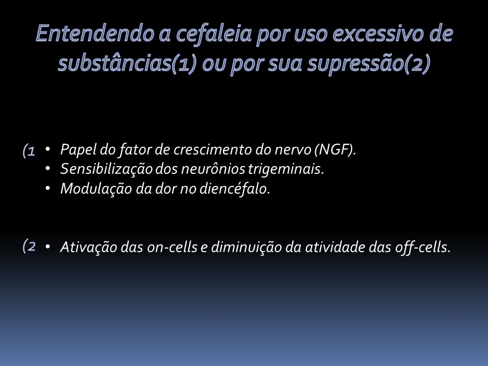 Entendendo a cefaleia por uso excessivo de substâncias(1) ou por sua supressão(2)