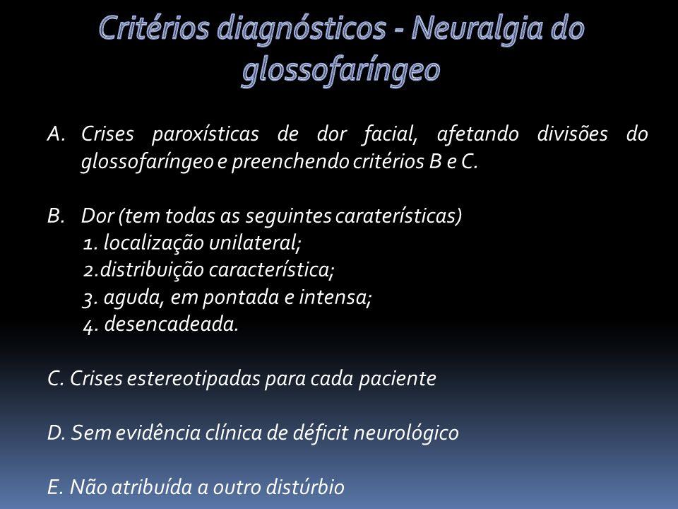 Critérios diagnósticos - Neuralgia do glossofaríngeo