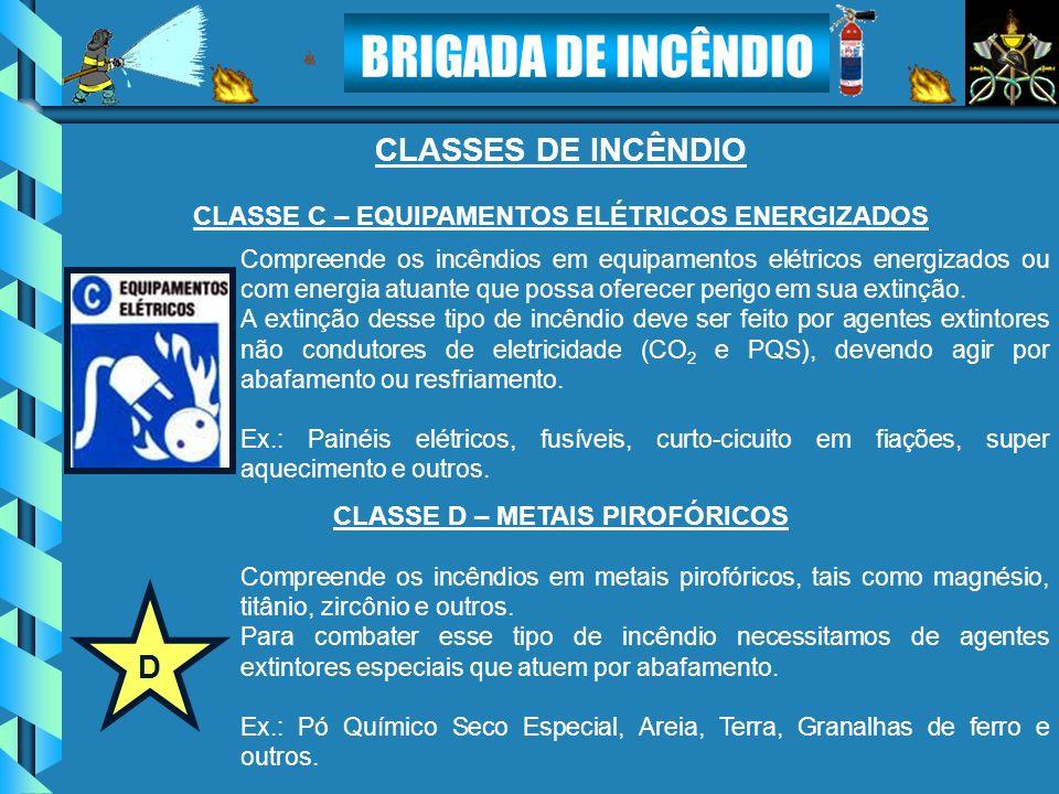 CLASSES DE INCÊNDIO D CLASSE C – EQUIPAMENTOS ELÉTRICOS ENERGIZADOS