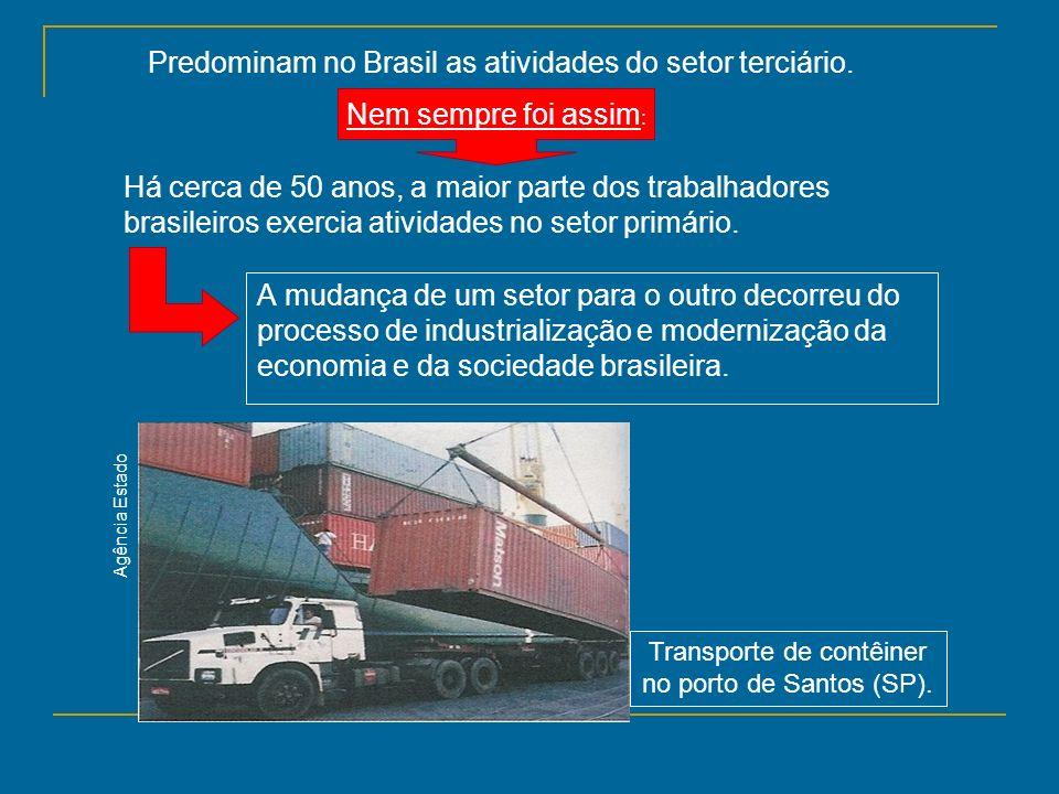 Transporte de contêiner no porto de Santos (SP).