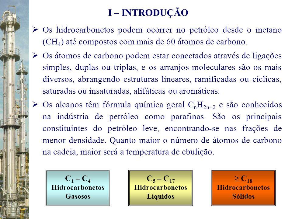 I – INTRODUÇÃO Os hidrocarbonetos podem ocorrer no petróleo desde o metano (CH4) até compostos com mais de 60 átomos de carbono.