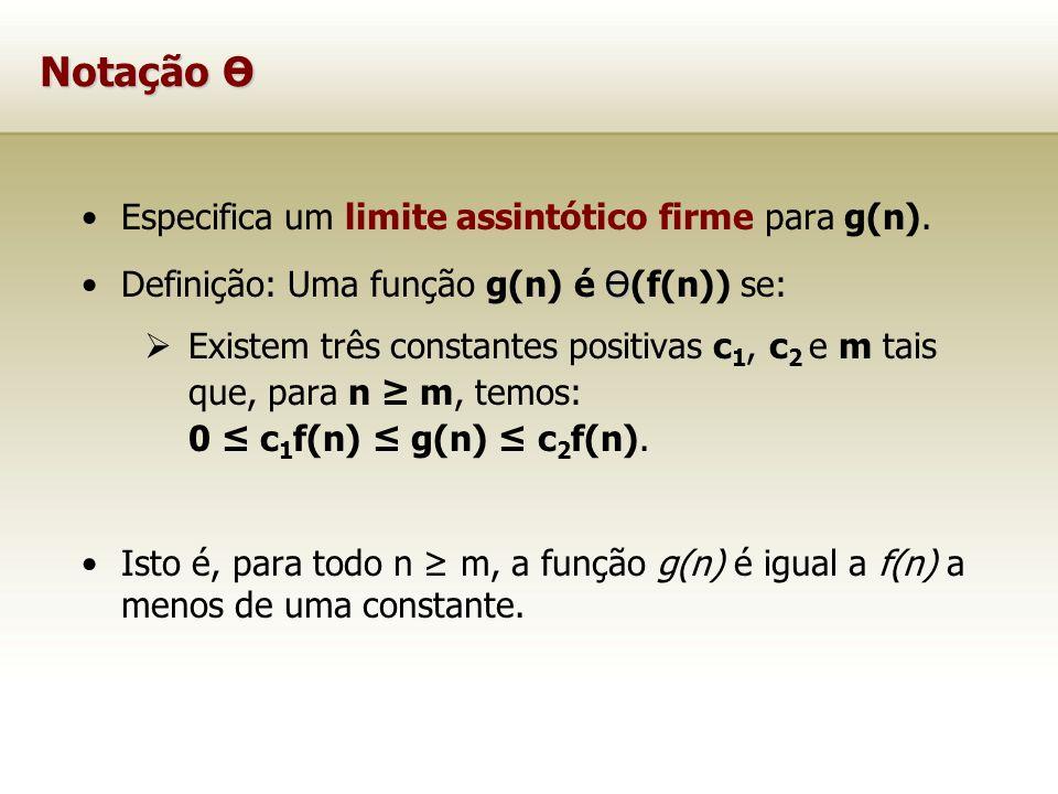 Notação Ө Especifica um limite assintótico firme para g(n).