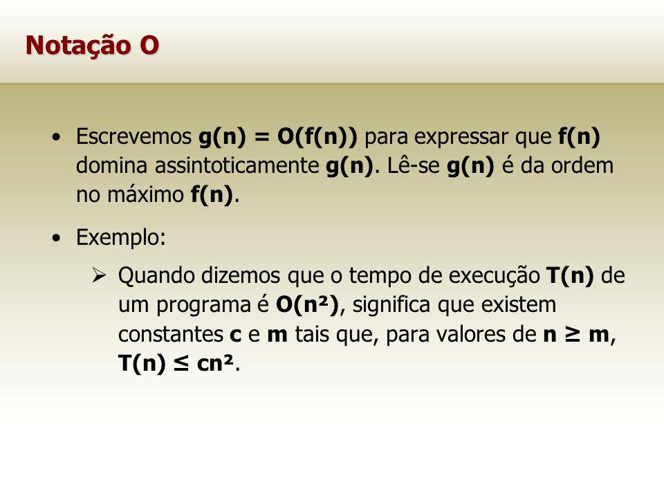 Notação O Escrevemos g(n) = O(f(n)) para expressar que f(n) domina assintoticamente g(n). Lê-se g(n) é da ordem no máximo f(n).