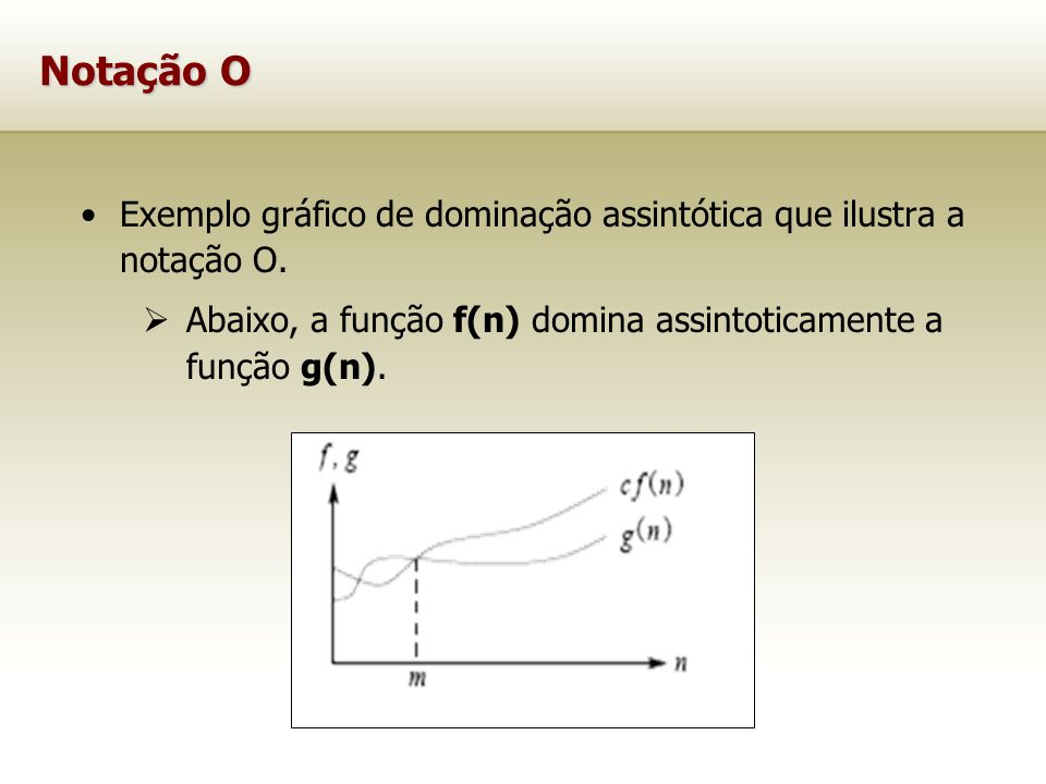 Notação O Exemplo gráfico de dominação assintótica que ilustra a notação O.