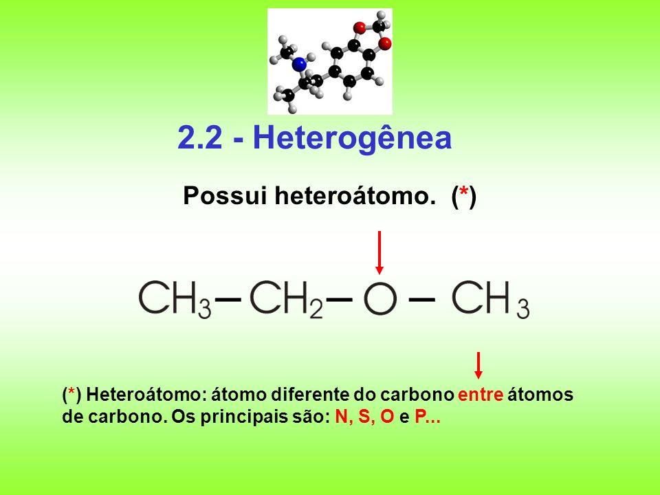 2.2 - Heterogênea Possui heteroátomo. (*)