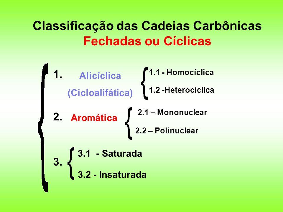 Classificação das Cadeias Carbônicas Fechadas ou Cíclicas