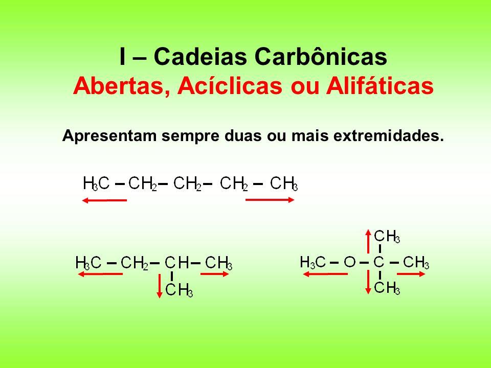I – Cadeias Carbônicas Abertas, Acíclicas ou Alifáticas
