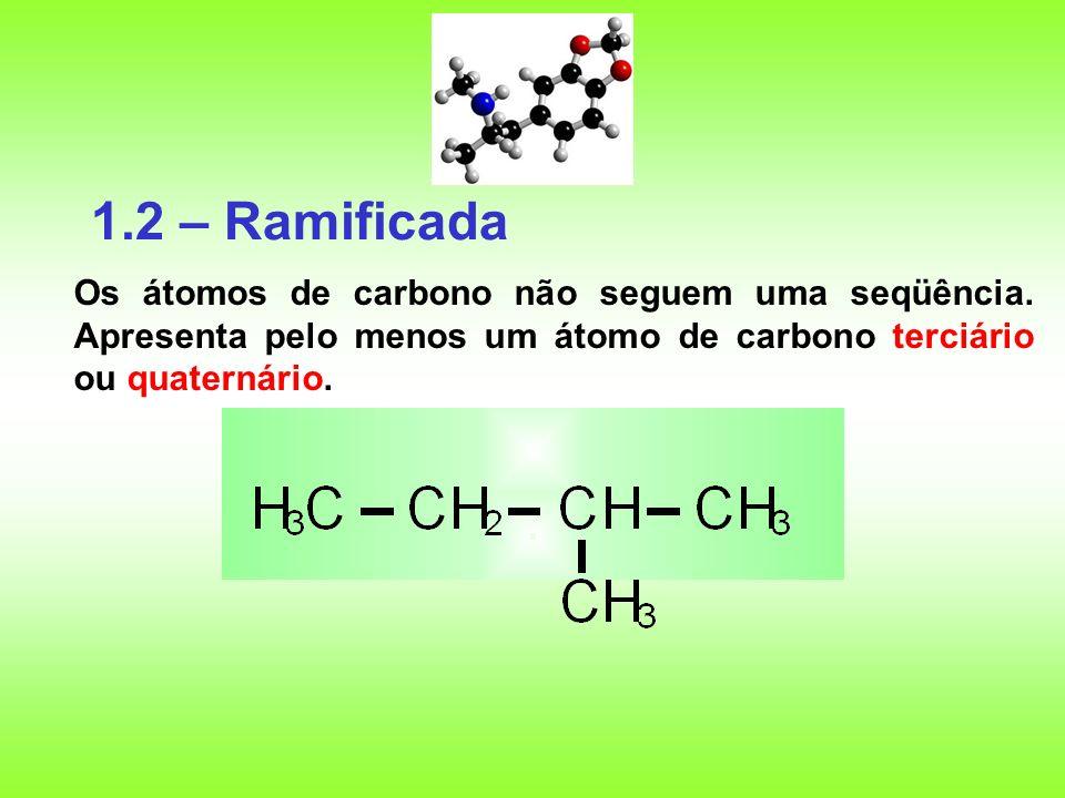 1.2 – Ramificada Os átomos de carbono não seguem uma seqüência.