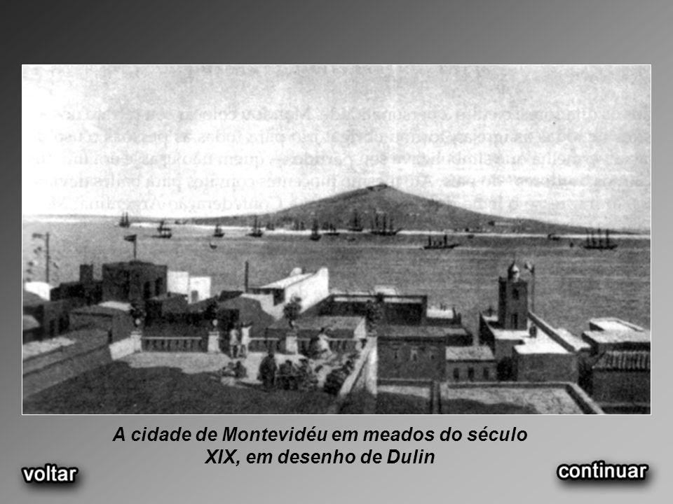 A cidade de Montevidéu em meados do século XIX, em desenho de Dulin