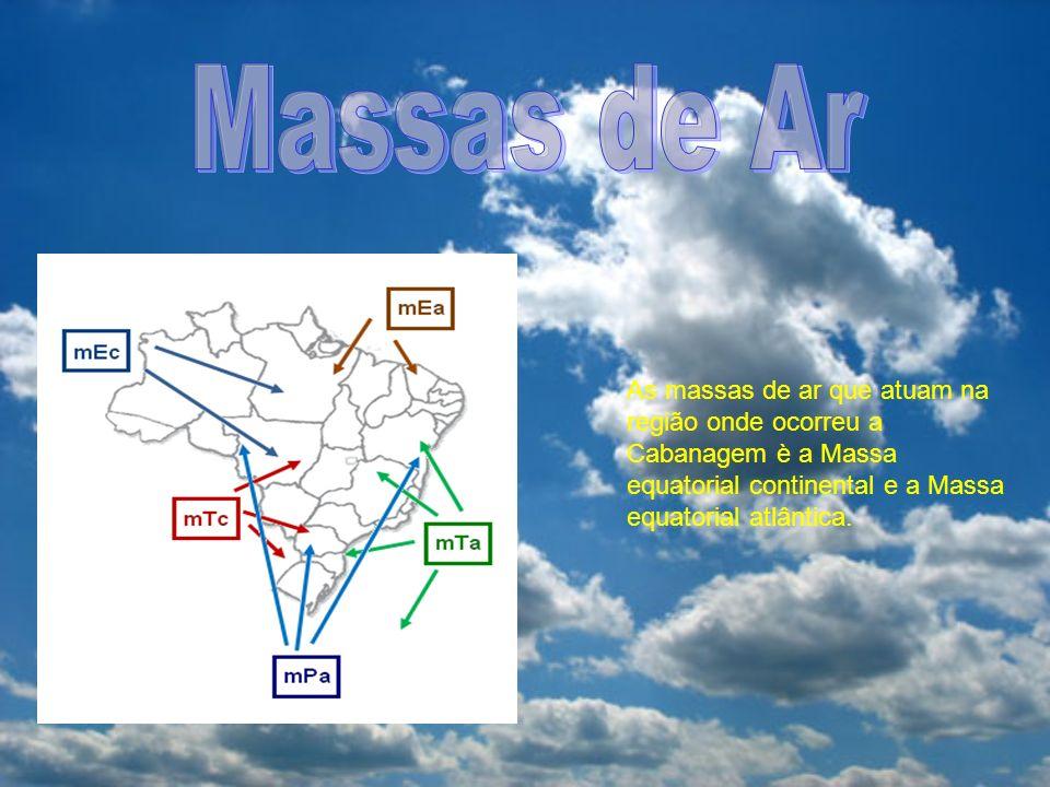 Massas de Ar As massas de ar que atuam na região onde ocorreu a Cabanagem è a Massa equatorial continental e a Massa equatorial atlântica.