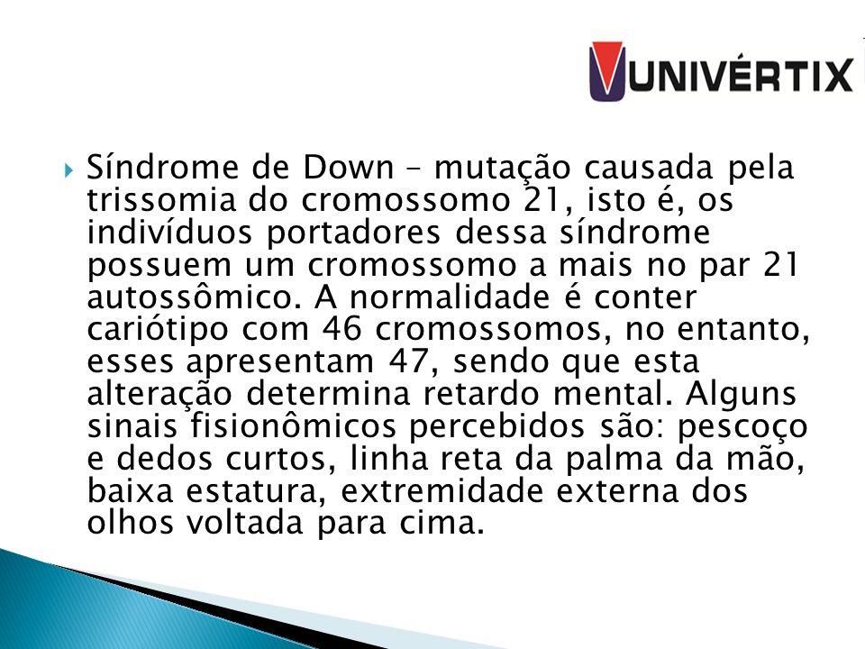 Síndrome de Down – mutação causada pela trissomia do cromossomo 21, isto é, os indivíduos portadores dessa síndrome possuem um cromossomo a mais no par 21 autossômico.