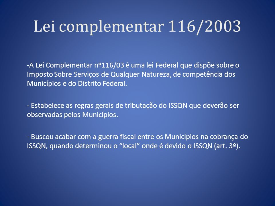 Lei complementar 116/2003