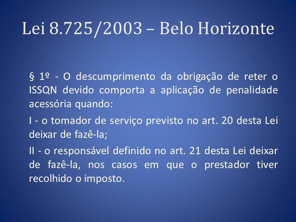 Lei 8.725/2003 – Belo Horizonte § 1º - O descumprimento da obrigação de reter o ISSQN devido comporta a aplicação de penalidade acessória quando: