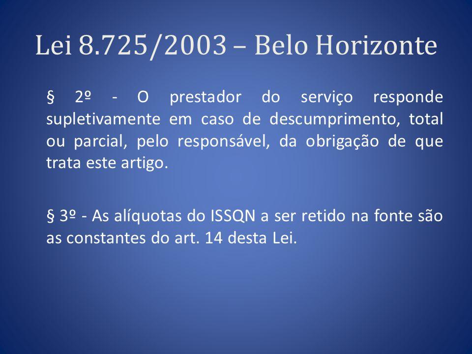 Lei 8.725/2003 – Belo Horizonte