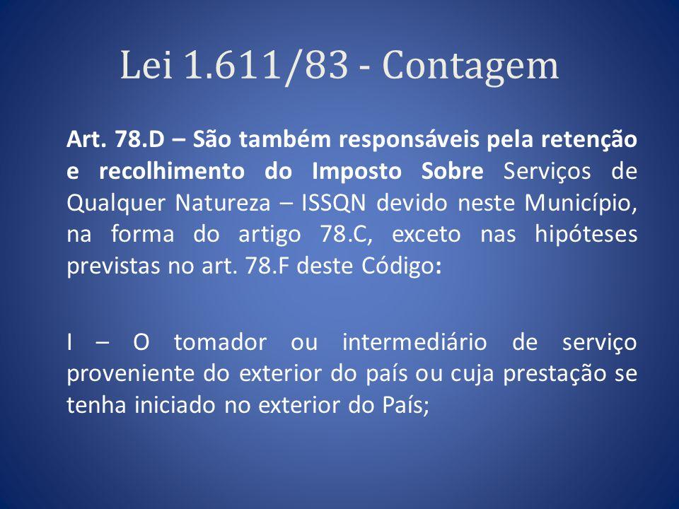 Lei 1.611/83 - Contagem