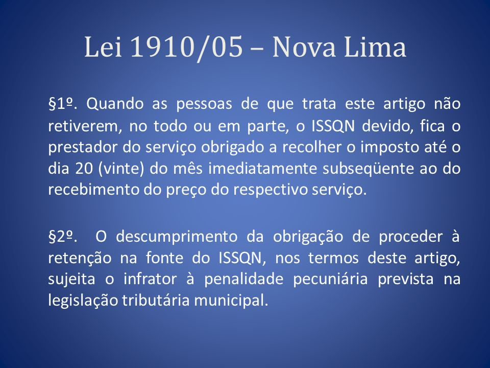 Lei 1910/05 – Nova Lima
