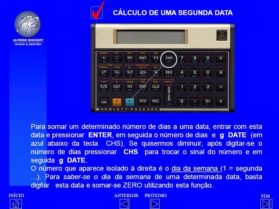 CÁLCULO DE UMA SEGUNDA DATA