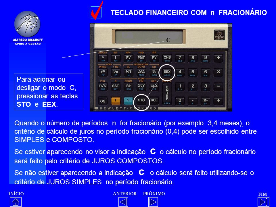 TECLADO FINANCEIRO COM n FRACIONÁRIO