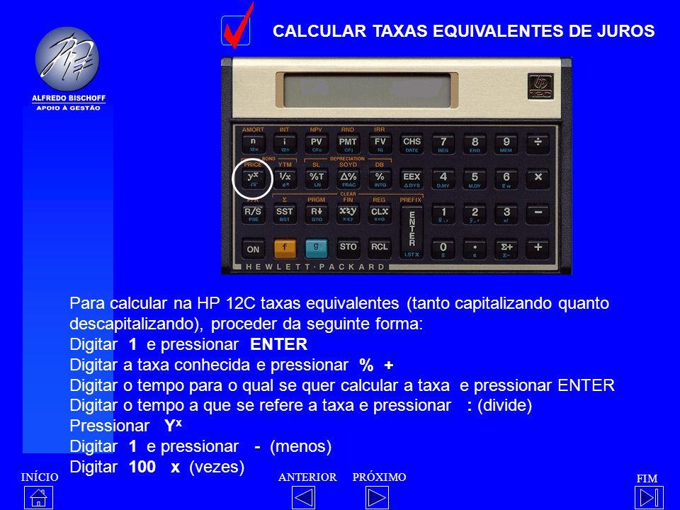 CALCULAR TAXAS EQUIVALENTES DE JUROS