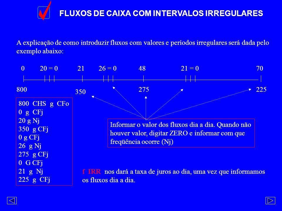 FLUXOS DE CAIXA COM INTERVALOS IRREGULARES