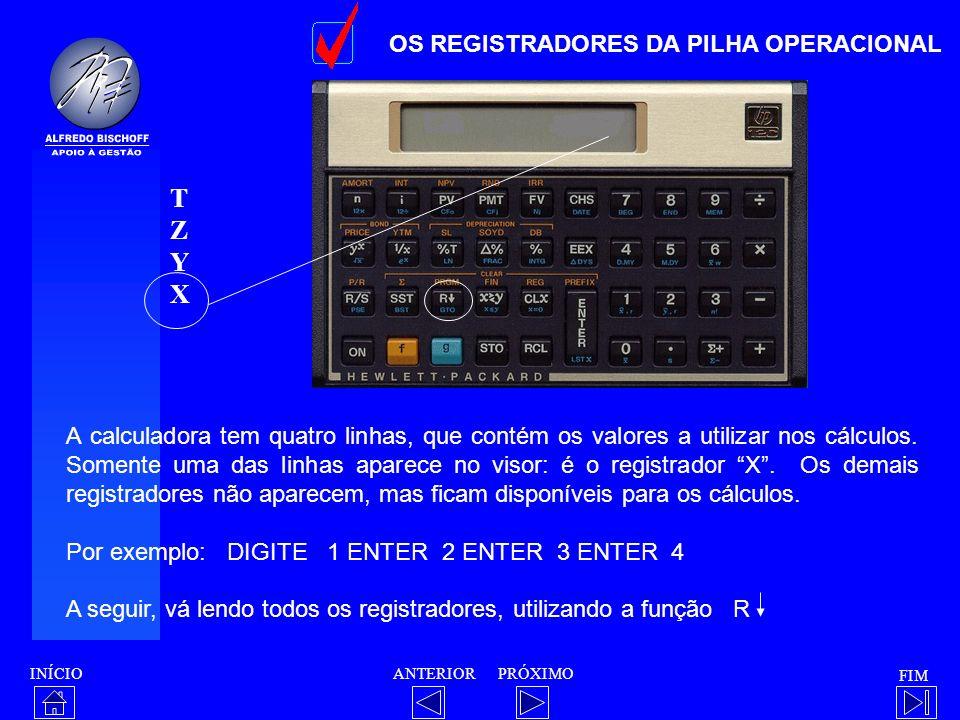 T Z Y X OS REGISTRADORES DA PILHA OPERACIONAL