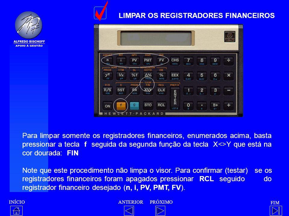 LIMPAR OS REGISTRADORES FINANCEIROS