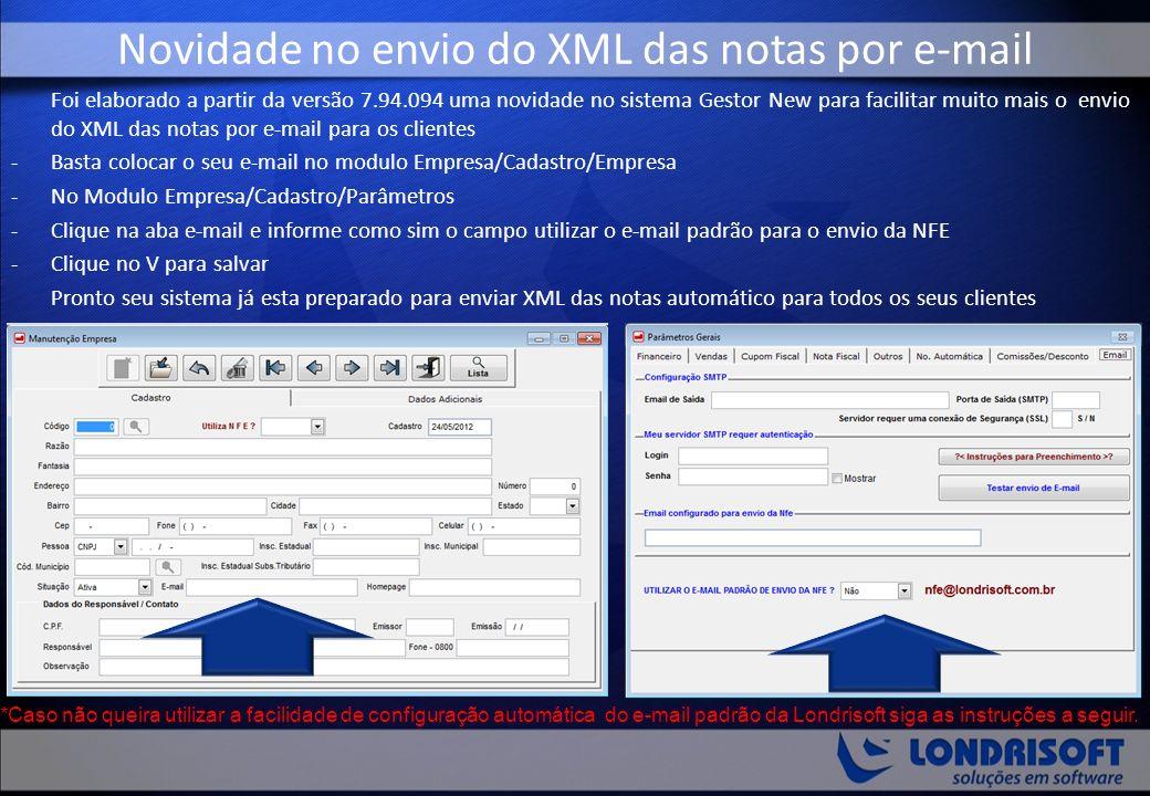 Novidade no envio do XML das notas por e-mail