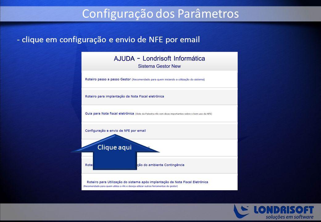 - clique em configuração e envio de NFE por email