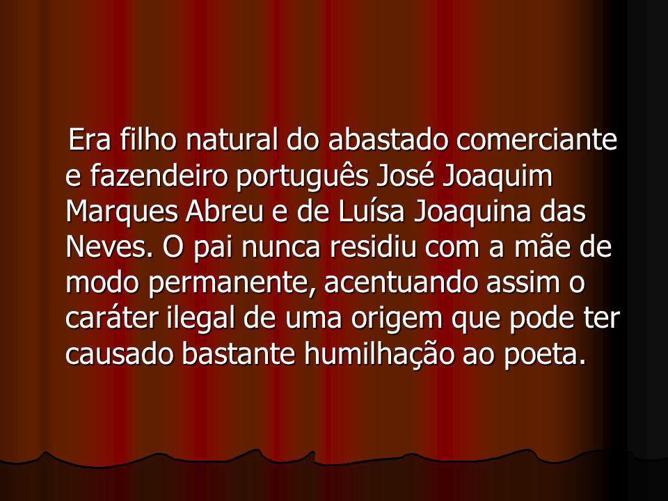 Era filho natural do abastado comerciante e fazendeiro português José Joaquim Marques Abreu e de Luísa Joaquina das Neves.