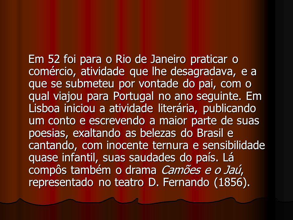 Em 52 foi para o Rio de Janeiro praticar o comércio, atividade que lhe desagradava, e a que se submeteu por vontade do pai, com o qual viajou para Portugal no ano seguinte.