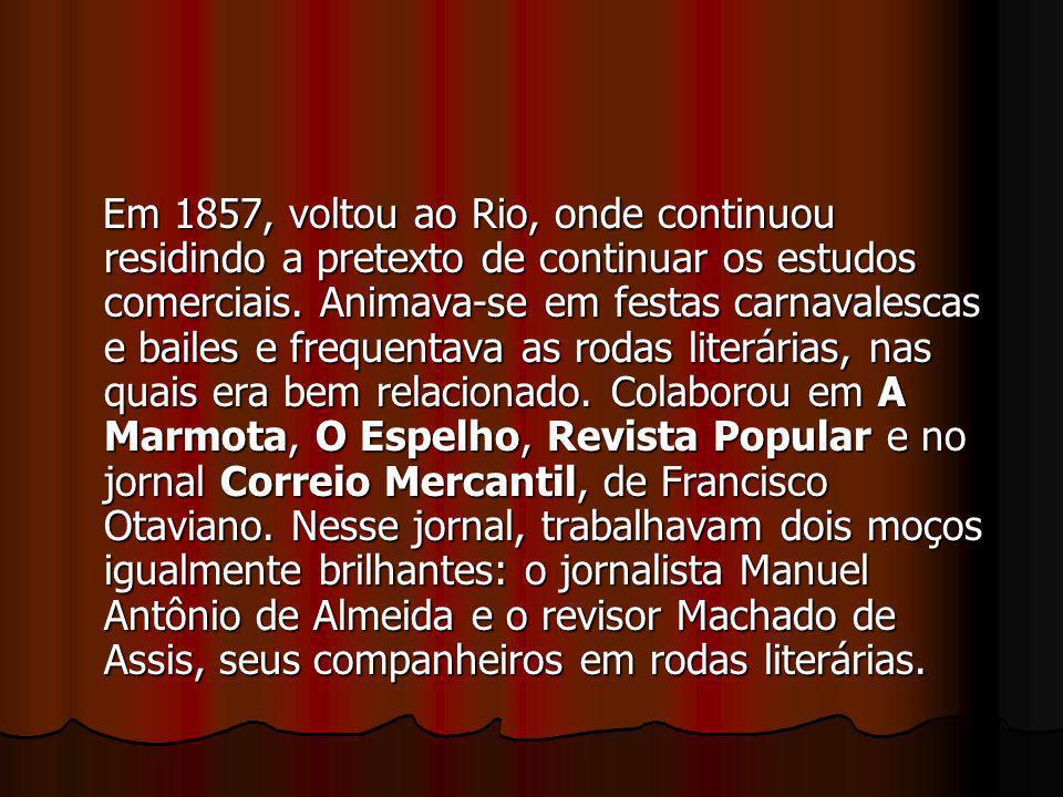 Em 1857, voltou ao Rio, onde continuou residindo a pretexto de continuar os estudos comerciais.