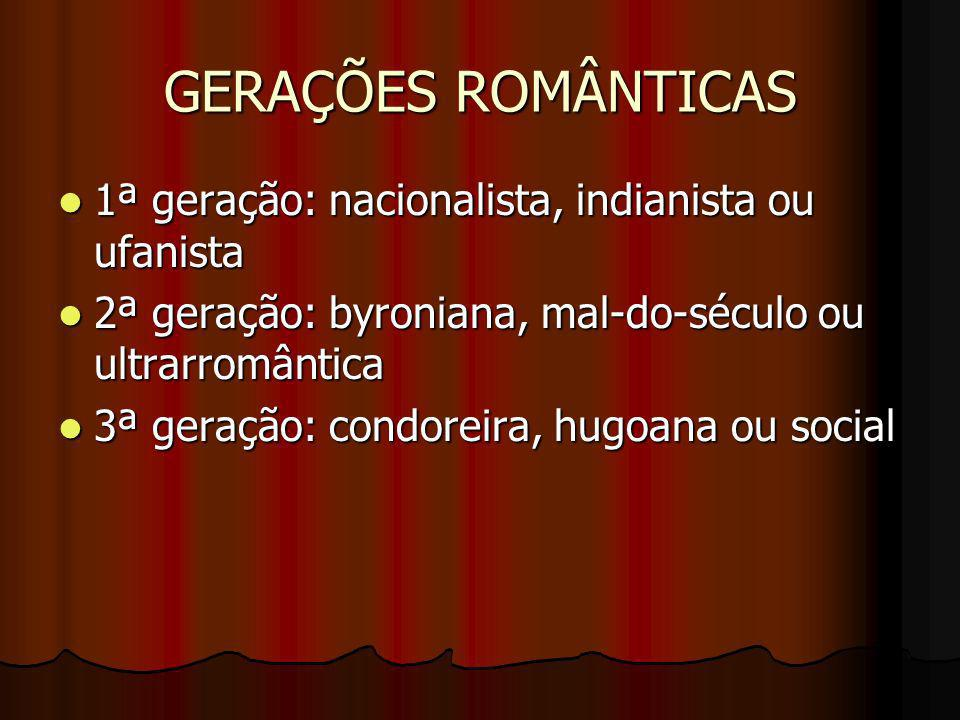 GERAÇÕES ROMÂNTICAS 1ª geração: nacionalista, indianista ou ufanista