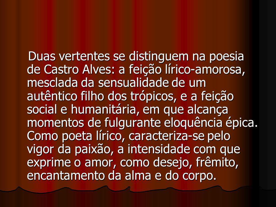Duas vertentes se distinguem na poesia de Castro Alves: a feição lírico-amorosa, mesclada da sensualidade de um autêntico filho dos trópicos, e a feição social e humanitária, em que alcança momentos de fulgurante eloquência épica.