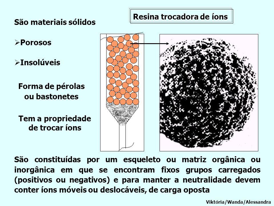 Forma de pérolas ou bastonetes Tem a propriedade de trocar íons