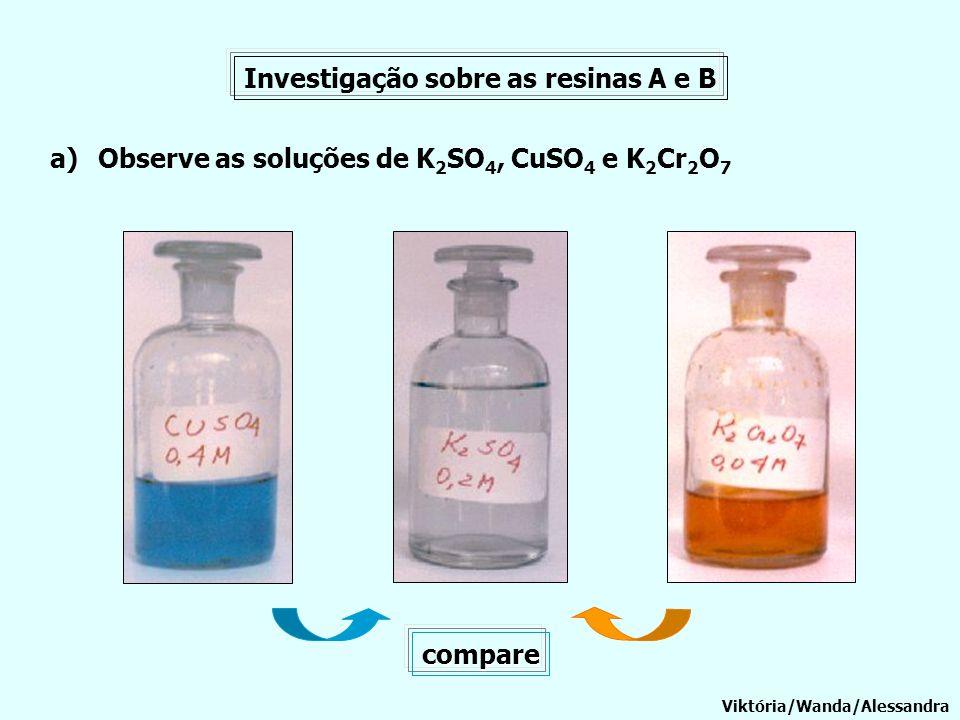 Investigação sobre as resinas A e B